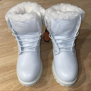 Lugz Faux Fur Lined Work Boots White 11M